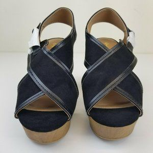 Womens Wedge Sandals Size 8 Black X-Band Buckle